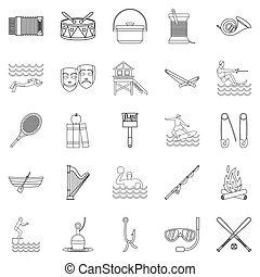 jeux, style, ensemble, contour, icônes, eau
