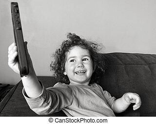 jeux, téléphone portable, enfant, girl, heureux
