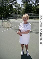 jeux, tennis, dame, personne agee