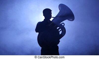 jeux, trumpeter, enfumé, closeup, tuba., studio, projecteur