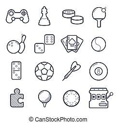 jeux, vecteur, ensemble, icons.