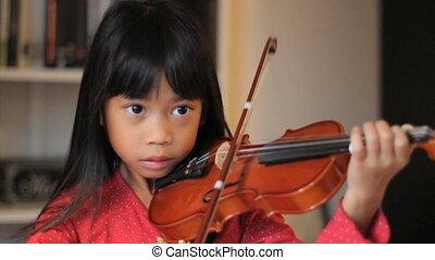 jeux, vieux, elle, 6, année, violon, girl