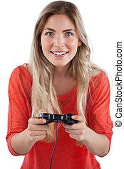 jeux visuels, blond, femme, jouer