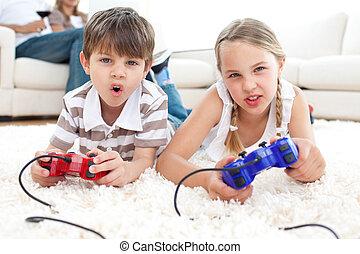 jeux visuels, enfants, animé, jouer