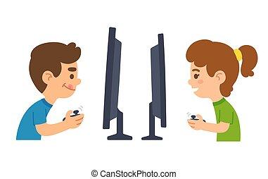 jeux visuels, enfants jouer