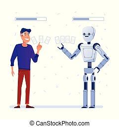 jeux, vr, lunettes, réalité, robot., jeu, homme, carte, augmented