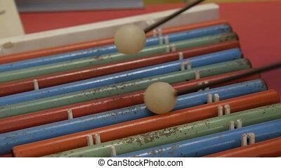 jeux, xylophone, instrument, adolescent, multi-coloré, ...