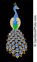 Brooch in the form of a peacock with gems