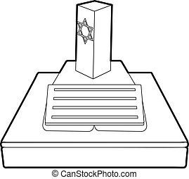 Jevish grave icon, outline style