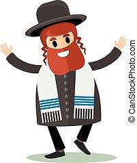 jew flat - orthodox jew, hassid, rabbi, with Payot and ...