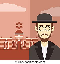 Jew icon 2 - Vector cartoon of a icon with an jew