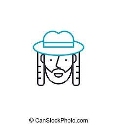 Jew linear icon concept. Jew line vector sign, symbol, illustration.