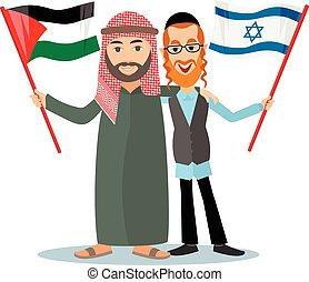 Jew with arab with flags - orthodox jew, hassid, rabbi, Arab...