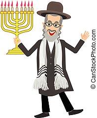 Jew with menorah - orthodox jew,hassid,rabbi,with Payot and...