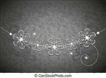 jewel - decorative background, black and white