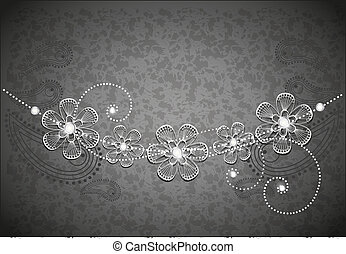 jewel - decorative background, black and white