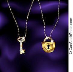 silk background and a jewelry chains with pendant lock and key