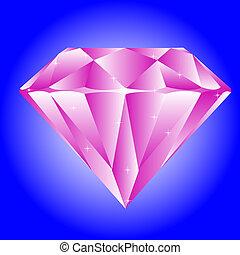 Jewel diamond on turn blue background