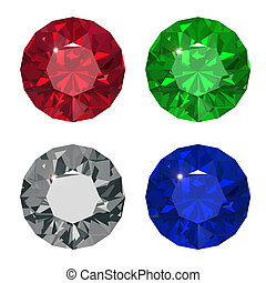 Jewel set. Vector illustration. Ruby, brilliant, saphire, ...