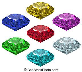 Jewel set. Vector illustration. Ruby, brilliant, saphire, ...