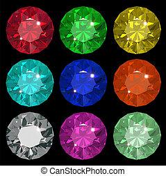 Jewel set. Vector illustration. Ruby, brilliant, saphire, emerald.