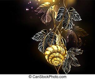 Jeweled, detailed, golden snail crawls up black grape leaves on black background. Gold snail.