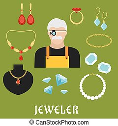 Jeweler and jewelry flat icons - Jeweler profession concept...