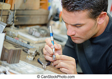 Jeweler at work