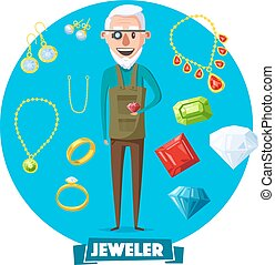Jeweler man profession and jewelry vector items - Jeweler...