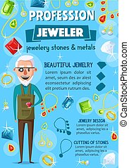 Jeweler or goldsmith, jewelry and tools