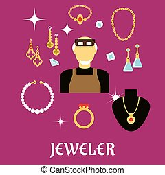 Jeweler or goldsmith with jewelries, flat style