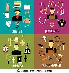 Jeweler, shoemaker, artist and priest professions