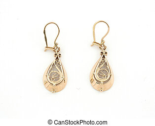 jewelery 026 gold earing isolated.