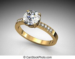 jewelery, anneau, blanc, arrière-plan.