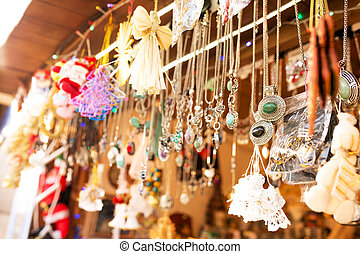 Jewelery, bijouterie and souvenirs at the New Year's fair in the center square of Lviv