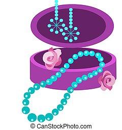 jewelery, boxas, med, örhänge, halsband, och, blomningen