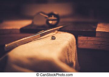 jewelery, bureau, métier, confection, professionnel, outils