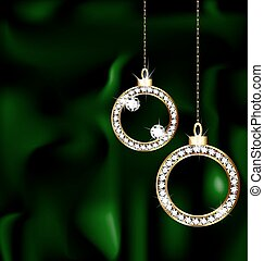jewelery Christmas balls - on a green silk there are two...