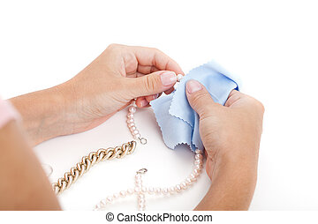 jewelery, donna, pulizia