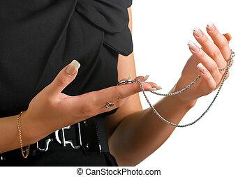 jewelery, femme, tient, chaîne, mains