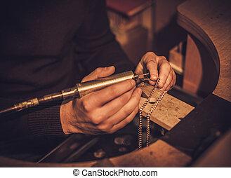 jewelery, lavoro, officina, gioielliere