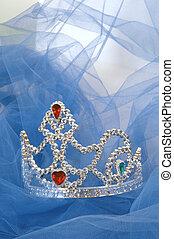 Jewelled Tiara on blue tulle background