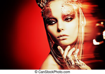 jewellery - Art project: beautiful woman with golden make-up...