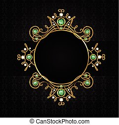 Jewellery black classic vintage golden tiara with diamonds and green emeralds frame vector illustration