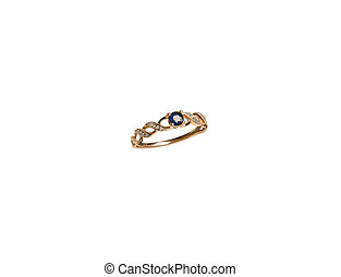 jewellery golden ring with one dark blue diamond isolated on white background