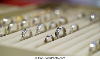 Jewellery golden rings in a shop
