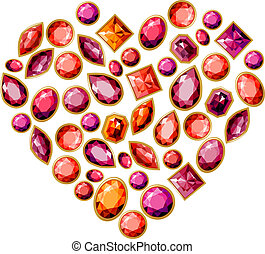 Jewellery heart made of different gems - Red jewellery heart...