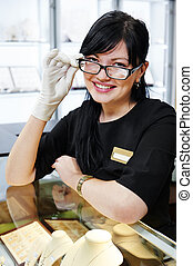 Jewellery shop sales assistant - Portrait of smiling female...