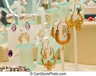 Woman jewellery in the shop-window
