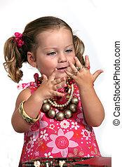 jewelry., わずかしか, 愛らしい, 女の子, 大いに